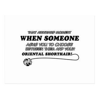 Oriental Shorthair cat designs Postcard