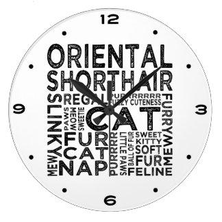Oriental Shorthair Cat Typography Large Clock
