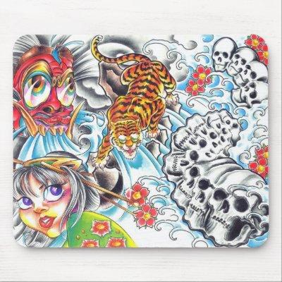 tatuajes orientales flores. tigre oriental de las mujeres del cráneo tapetes de ratones por