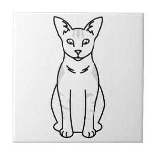 Oriental sombreó el dibujo animado del gato azulejo cuadrado pequeño