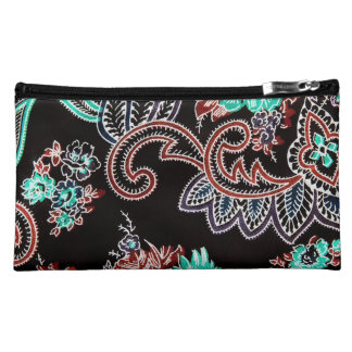 oriental spice pattern - midnight with turquoise makeup bag