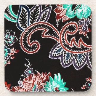 oriental spice - plant motif - midnight coaster