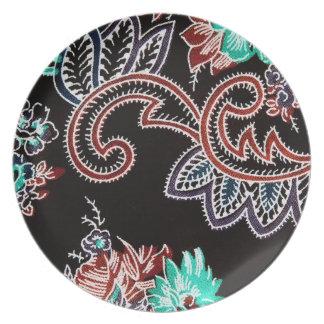oriental spice - plant motif - midnight dinner plate
