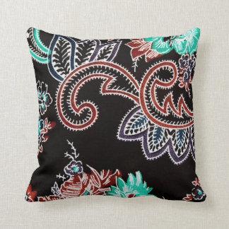 oriental spice - plant motif - midnight throw pillow