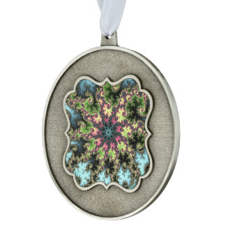 Oriental Star - colorful mesmerizing fractal art Scalloped Pewter Christmas Ornament