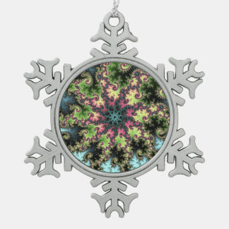 Oriental Star - colorful mesmerizing fractal art Snowflake Pewter Christmas Ornament