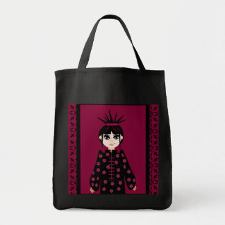 Oriental Style Goth Girl Grocery Tote Canvas Bag
