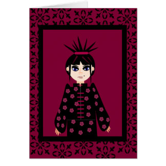Oriental Style Goth Girl Note Cards