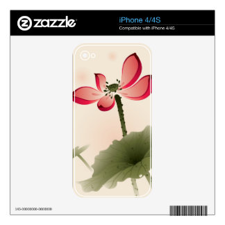 Oriental style Lotus Skin For The iPhone 4