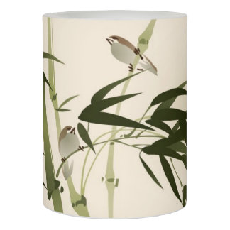 Oriental style painting, bamboo branches flameless candle