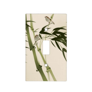 Oriental style painting, bamboo branches light switch cover