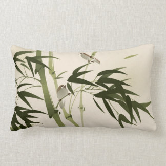 Oriental style painting, bamboo branches lumbar pillow