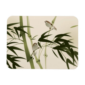 Oriental style painting, bamboo branches magnet