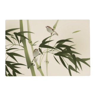 Oriental style painting, bamboo branches placemat