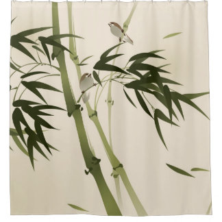 Oriental style painting, bamboo branches shower curtain