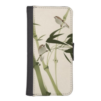 Oriental style painting, bamboo branches wallet phone case for iPhone SE/5/5s