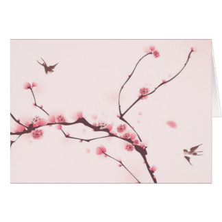 Oriental style painting, cherry blossom card