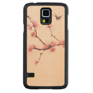 Oriental style painting, cherry blossom carved® maple galaxy s5 case