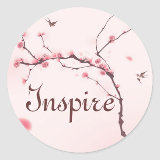 Oriental style painting, cherry blossom classic round sticker