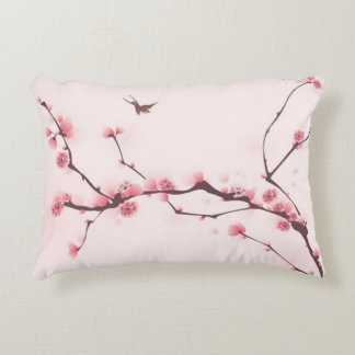 Oriental style painting, cherry blossom decorative pillow