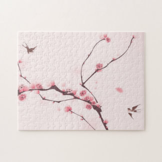Oriental style painting, cherry blossom jigsaw puzzle