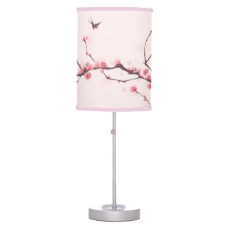 Oriental style painting, cherry blossom table lamp