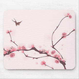 Oriental style painting, cherry blossom mouse pad