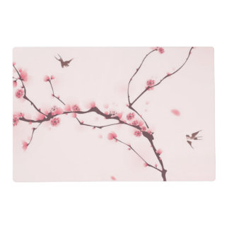 Oriental style painting, cherry blossom laminated placemat