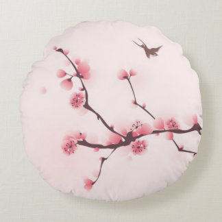 Oriental style painting, cherry blossom round pillow