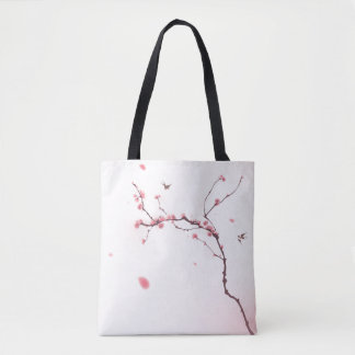 Oriental style painting, cherry blossom tote bag