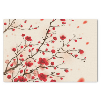 "Oriental style painting, plum blossom in spring 10"" x 15"" tissue paper"