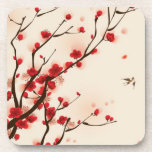 Oriental style painting, plum blossom in spring 2 beverage coaster