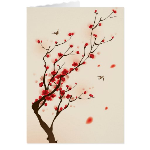 Oriental style painting, plum blossom in spring 2 greeting cards