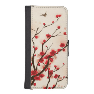 Oriental style painting, plum blossom in spring 2 iPhone SE/5/5s wallet case