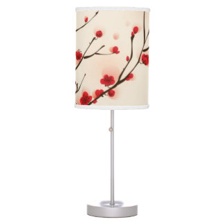 Oriental style painting, plum blossom in spring 2 desk lamps