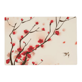 Oriental style painting, plum blossom in spring 2 laminated place mat