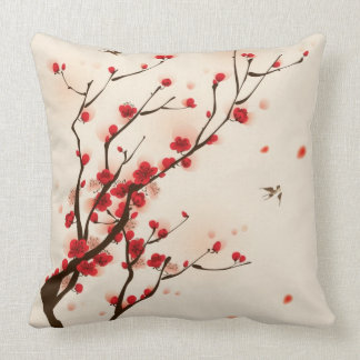 Oriental style painting, plum blossom in spring 2 throw pillow