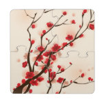 Oriental style painting, plum blossom in spring 2 puzzle coaster