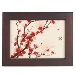 Oriental style painting, plum blossom in spring 2 keepsake box