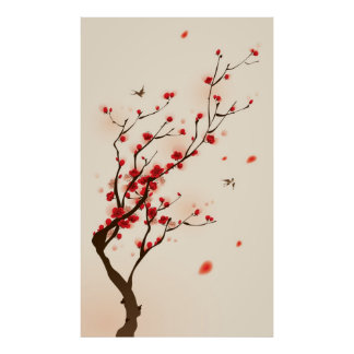 Oriental style painting, plum blossom in spring 2 poster