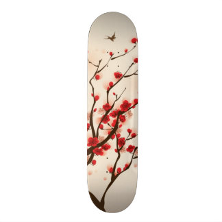 Oriental style painting, plum blossom in spring 2 skateboard