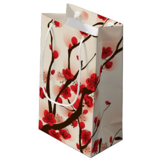 Oriental style painting, plum blossom in spring 2 small gift bag