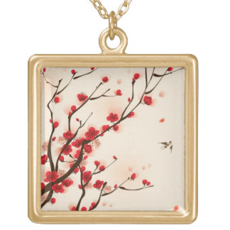Oriental style painting, plum blossom in spring 2 square pendant necklace