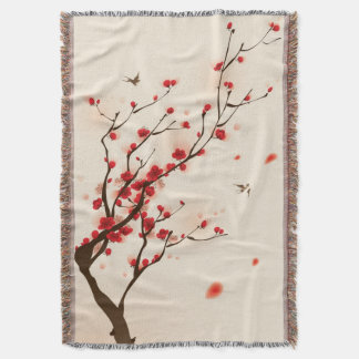 Oriental style painting, plum blossom in spring 2 throw blanket