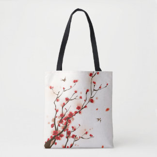 Oriental style painting, plum blossom in spring 2 tote bag