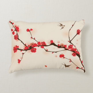 Oriental style painting, plum blossom in spring 3 accent pillow