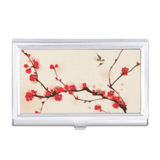 Oriental style painting, plum blossom in spring 3 case for business cards