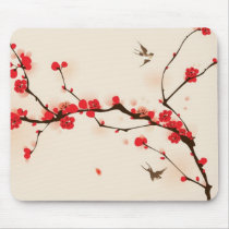 Oriental style painting, plum blossom in spring 3 mouse pad