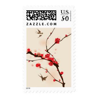 Oriental style painting, plum blossom in spring 3 postage