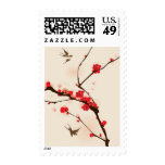 Oriental style painting, plum blossom in spring 3 stamps